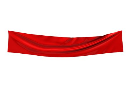nylon: 3d illustration of empty textile banner over white background