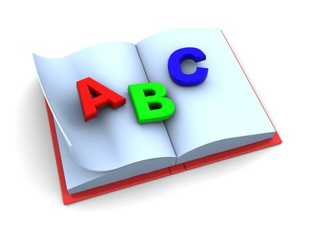 3d illustration of school book with abc on pages illustration