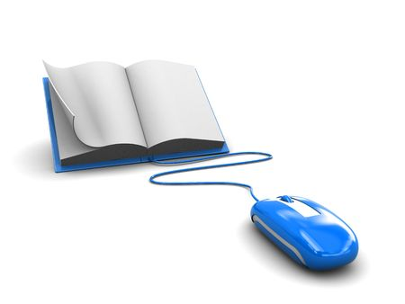 3d illustration of computer mouse connected to book, over white background illustration