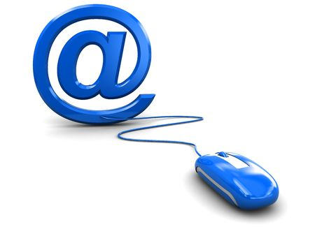 3d illustration of email symbol and computer mouse over white background illustration