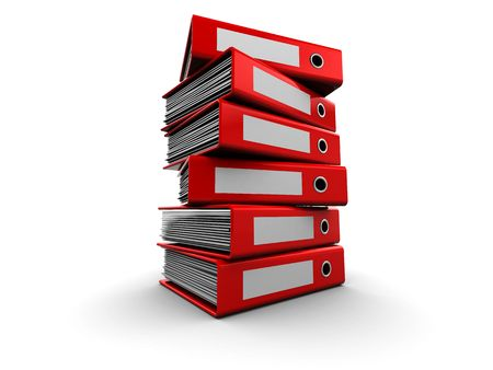 stack of files: 3d illustration of archive folders stack over white background