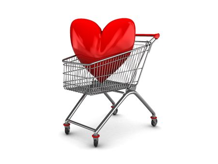 abstract 3d illustration of shopping cart with red heart symbol inside illustration