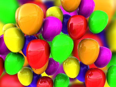3d illustration of colorful baloons background illustration