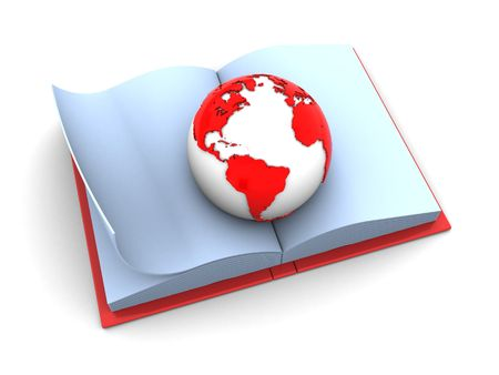 studing: abstract 3d illustration of earth globe on opened book
