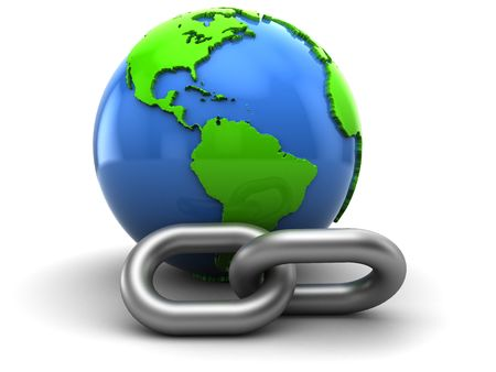 hyperlink: abstract 3d illustration of earth and chain, hyperlink symbol