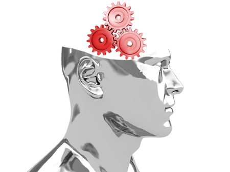 abstract 3d illustration of steel head with gear wheels inside illustration