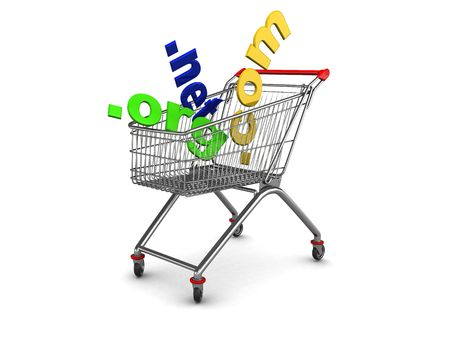 3d illustration of shopping cart with domain names inside