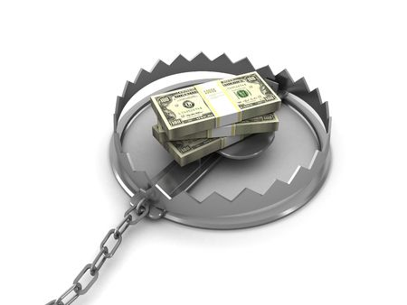 3d illustration of steel trap with money stack inside Stock Photo