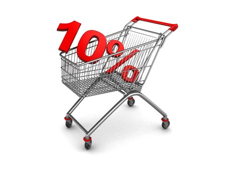 abstract 3d illustration of shopping cart with discount sign inside illustration