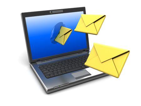 sending: 3d ilustraci�n de la computadora port�til con el correo electr�nico desde la pantalla de