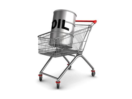 abstract 3d illustration of shopping cart with oil barrell inside illustration