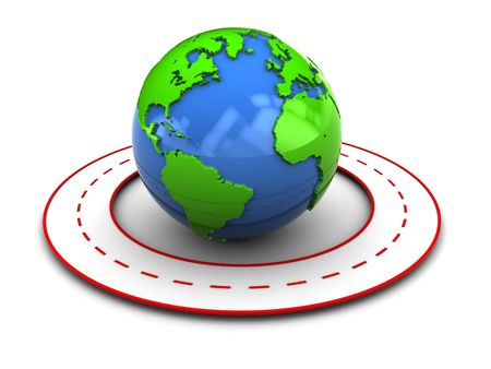 abstract 3d illustration of earth globe and stylized road arount it