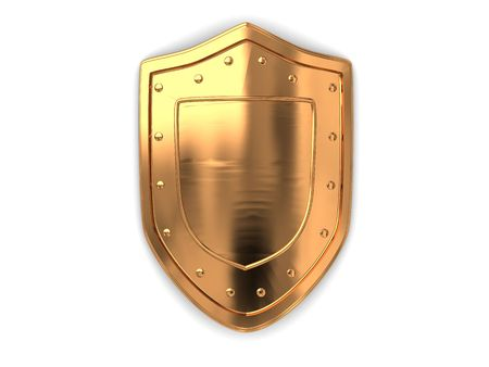 3d illustration of golden shield over white background