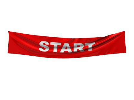 the pennant: 3d illustration of red banner with start sign