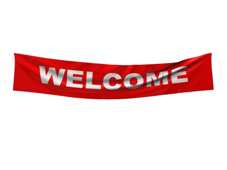 novice: 3d illustration of welcome banner isolated over white background