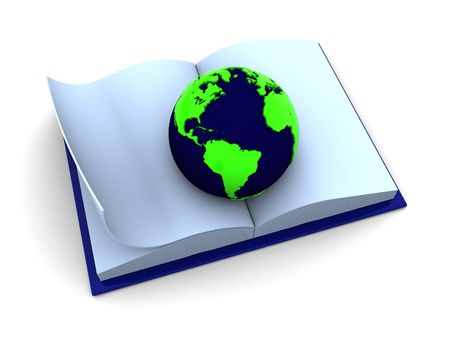 abstract 3d illustration of opened book with earth inside illustration