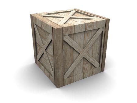 3d illustration of single wooden crate over white background Stock Illustration - 5610647