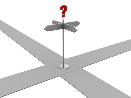 symbolization: 3d illustration of crossroad sign with question mark