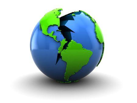 abstract 3d illustration of broken earth over white background Stock Illustration - 5610760