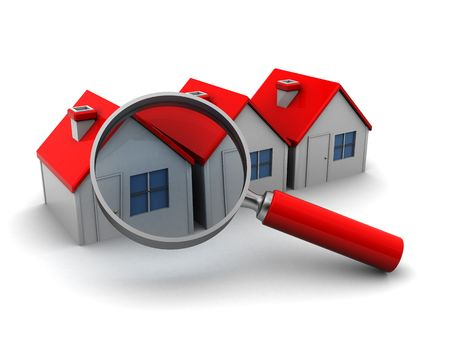 3d illustration of three houses and magnify glass, search for home concept 版權商用圖片