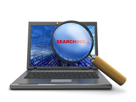 internet search: 3d illustration of laptop and magnify glass, internet search concept Stock Photo