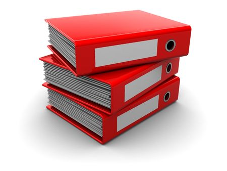stack of files: 3d illustration of three archive folders stack, over white background Stock Photo