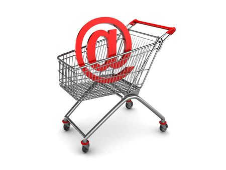 3d illustration of shopping cart with email inside illustration