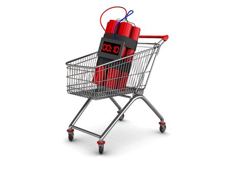 abstract 3d illustration of dynamite in shopping cart illustration