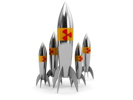 arsenal: abstract 3d illustration, group of nuclear rockets over white background