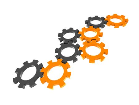 engineers: abstract 3d illustration of gear wheels system over white background