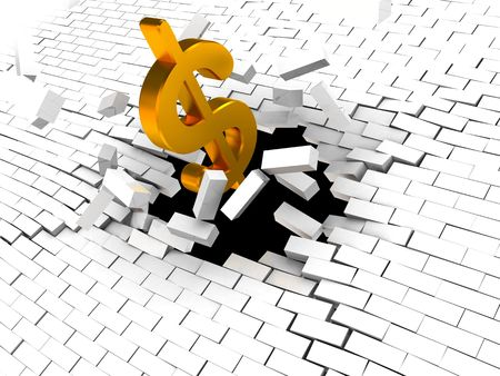 sucess: abstract 3d illustration of dollar sign breaking wall Stock Photo