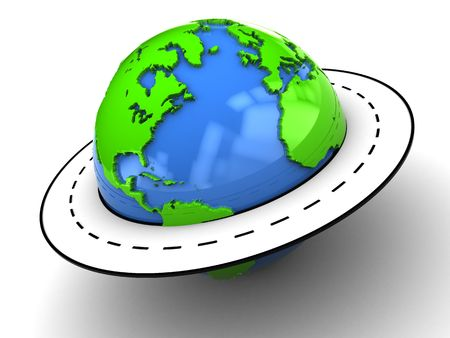 drive around the world: abstract 3d ilustration of road around earth globe