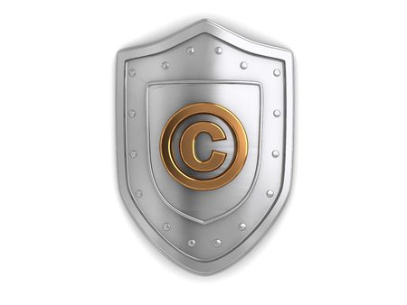 3d illustration of shield with copyright protection sign illustration