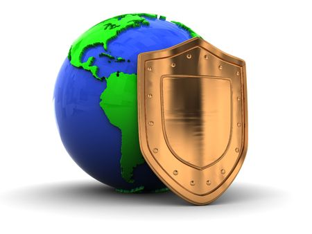 3d illustration of earth globe protected by golden shield illustration
