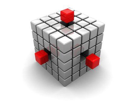 3d illustration of cube built from blocks over white background illustration
