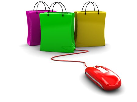 3d illustration of computer mouse connected to shopping bags Stock Photo
