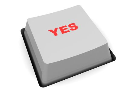 caption: 3d illustration of button with yes caption