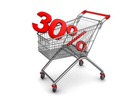 third wheel: 3d illustration of shopping cart with thirty percent discount sign
