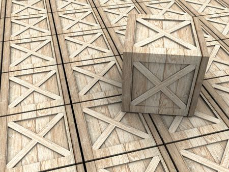 3d illustration of warehouse with crates background illustration