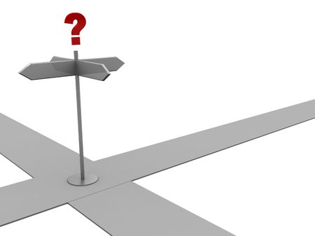 3d illustration of crossroad with question mark Stock Illustration - 5653407