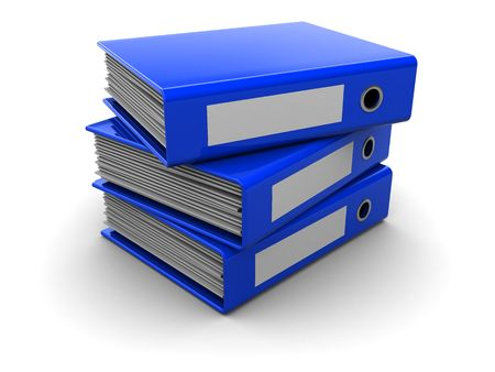3d illustration of three archive folders stack, over white background illustration