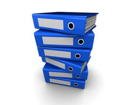 stack of files: 3d illustration of folders stack over white background