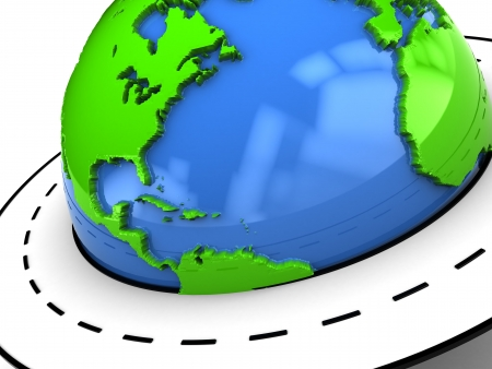 abstract 3d illustration of earth globe closeup with road around it Stock Illustration - 5653358