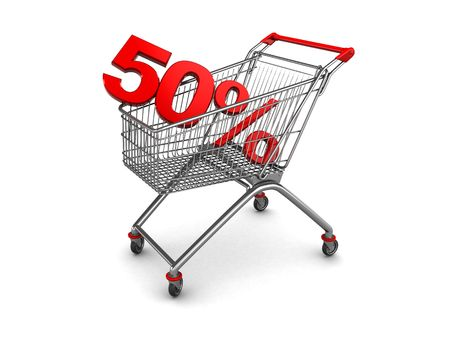 3d illustration of shopping cart with discount sign inside illustration
