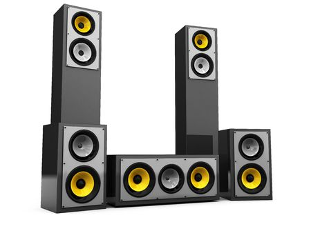 3d illustration of audio system with many speakers over white background Stock Illustration - 5707130