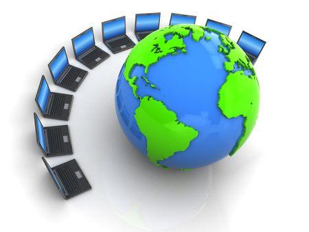 3d illustration of laptops group and earth globe illustration