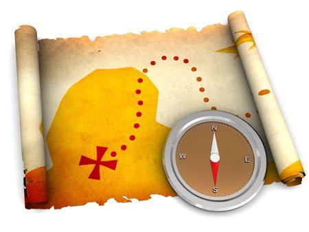 schateiland: 3d illustratie van schatkaart scrollen en kompas over witte achtergrond