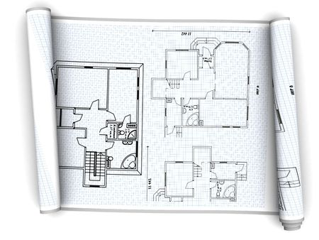 estate planning: 3d illustration of house plan paper scroll over white background
