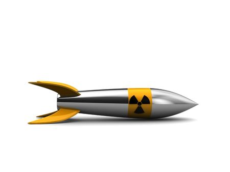 nuclear weapons: 3d illustration of nuclear missile over white background