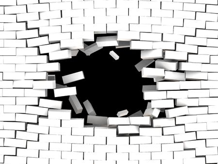 hole in wall: 3d illustration of breaking white brick wall background